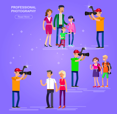videographer: cool detailed character Photographerwith camera photographs people students, family