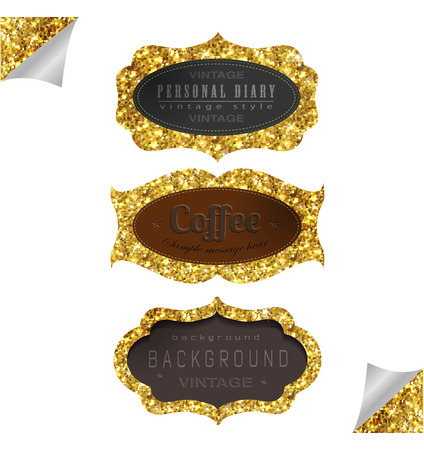 Label and frame of gold glittering stars . Golden elements collection.
