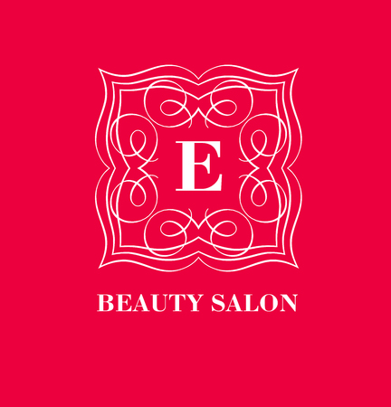 e store: Monogram template with  calligraphic elegant ornament. Identity design with letter E for shop, store or restaurant, heraldic, barbershop or barber, beauty salon, justic lawyer, boutique or hotel