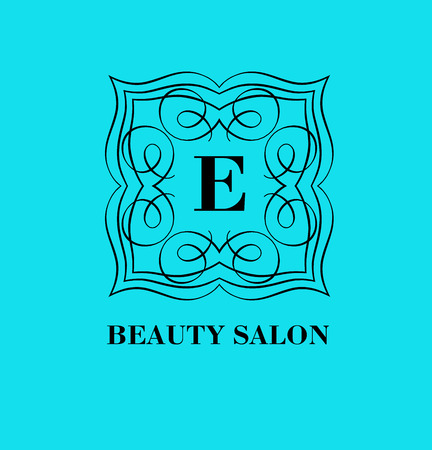 e store: Monogram template with  calligraphic elegant ornament. Identity design with E letter for shop, store or restaurant, heraldic, barbershop or barber, beauty salon, justic lawyer, boutique or hotel
