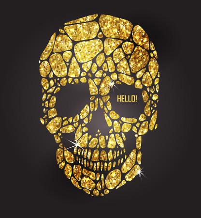tete de mort: Crâne d'or étincelant étoiles. collection d'éléments d'or. Le jour des morts Illustration