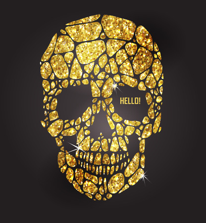 calaveras: Cráneo de estrellas de oro brillante. colección de elementos de oro. Dia de los Muertos Vectores