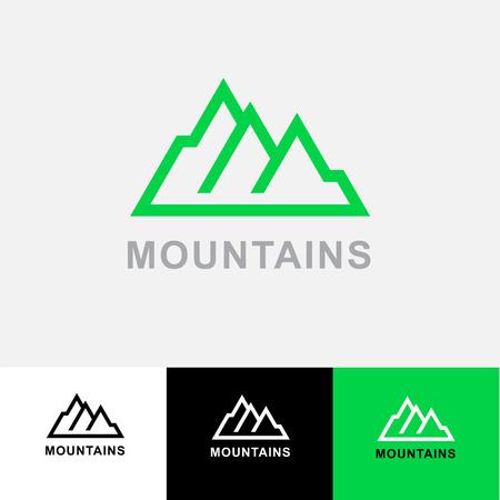ski resort: Abstract emblem for mountaineering, mountain exploration, outdoors adventure, skiing, ski resort, recreation tourism, camping equipment, Illustration