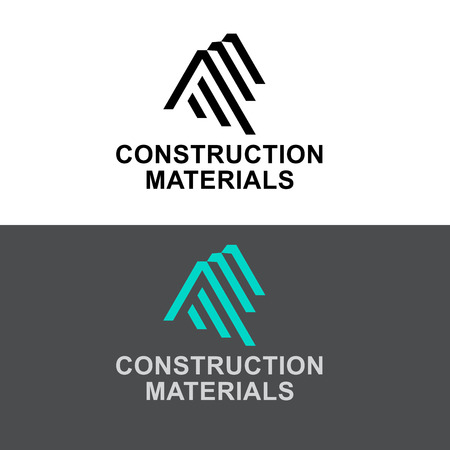 industrial design: Abstract emblem for Construction Materials, building industry construction process, urban architecture, letter A, AA, AAA