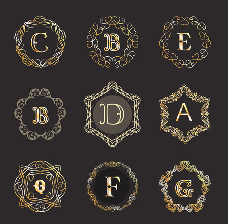 antique shop: Monogram template with  calligraphic elegant ornament. Identity design with B,D,A,Q,F,G letter for shop, store or restaurant, heraldic, barbershop or barber, beauty salon, justic lawyer, boutique or hotel