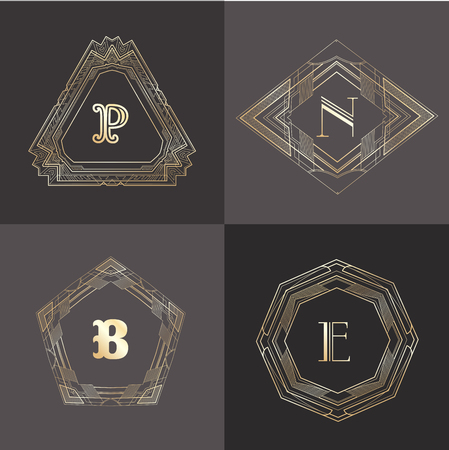 b n: Monogram template with  calligraphic elegant ornament. Identity design with letter P,N,B,E for shop, store or restaurant, heraldic, barbershop or barber, beauty salon, justic lawyer, boutique or hotel