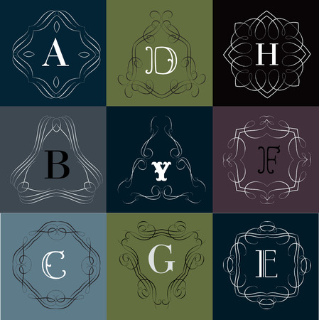 y ornament: Monogram template with  calligraphic elegant ornament. Identity design with D,B,Y,F,C,G,E letter for shop, store or restaurant, heraldic, barbershop or barber, beauty salon, justic lawyer, boutique or hotel