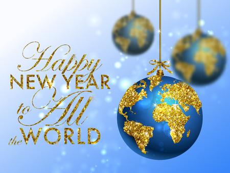 planeta tierra feliz: bola del brillo de la Navidad con el mapa mundial. Tarjeta de felicitación con la tipografía y el oro del globo del mundo. Feliz Navidad concepto. Fondo con los elementos caligráficos de oro