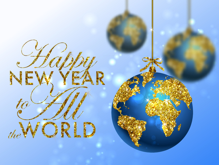 gold earth: Glitter christmas ball with world map. Greeting Card with typography and gold world globe. Merry Christmas concept. Background with golden calligraphic elements