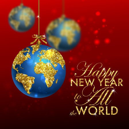 Glitter christmas ball with world map. Greeting Card with typography and gold world globe. Merry Christmas concept. Background with golden calligraphic elements