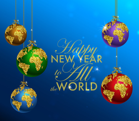 gold globe: Glitter christmas ball with world map. Greeting Card with typography and gold world globe. Merry Christmas concept. Background with golden calligraphic elements