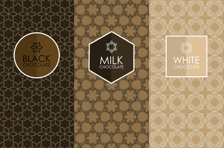 Vector set of templates packaging, label, banner, poster, identity, branding,   icon, seamless pattern in trendy linear style for chocolate and cocoa package -white, milk and dark chocolate