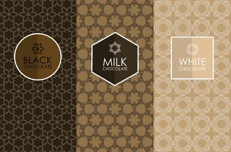 Vector conjunto de envasado plantillas, etiqueta, bandera, cartel, identidad, marca, icono, patrón de fisuras en el estilo lineal de moda para el chocolate y el cacao paquete -blanco, leche y chocolate negro