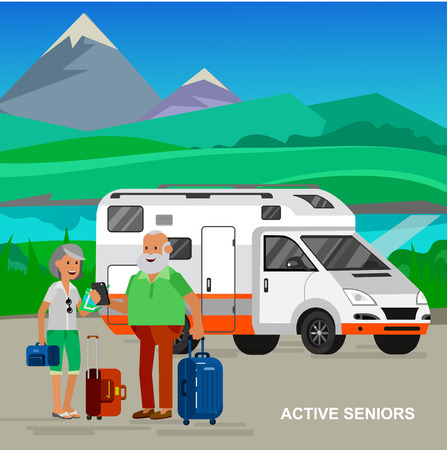 retired: vector detailed character senior, senior age travelers. Old age retired tourists couple. Elderly couple senior having summer vacation. Old tourists with map and gadget. Active senior man and woman