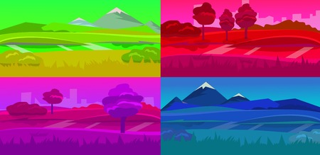 daytime: cartoon desert landscape, vector background landscape with desert, herbs, mountains and sky. Vector landscape, landscape daytime landscape, night landscape, sunset landscape, landscape sunrise Illustration