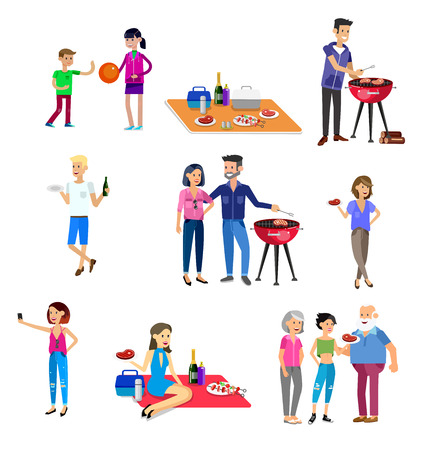 Vector character people on Family picnic or Bbq party. Food and barbeque, summer and grill. Vector barbeque party, illustration barbeque party  イラスト・ベクター素材
