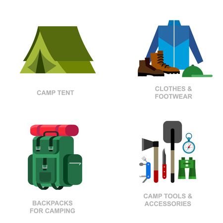 family hiking: Camping and barbecue object. Camping Weekend and barbecue party and picnic icons. Hiking, barbecue and camping object. Vector barbecue, camping flat illustration