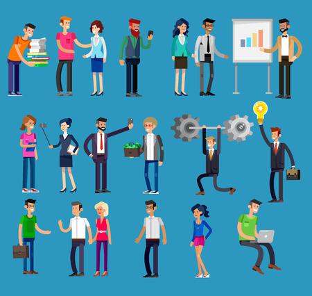 ejecutivo en oficina: Personajes de vectores detallados personas, la gente los hombres y mujeres de negocios en la acción. Los hombres de negocios se dan la mano, con un maletín, secretaria, gran jefe, hombre de inicio, colegas, gente de negocios del estilo de vida Vectores