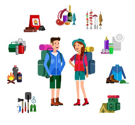 woman hiking: Men and woman character camping tourists. Camping Weekend icons. Hiking and camping object. Vector camping flat illustration Illustration