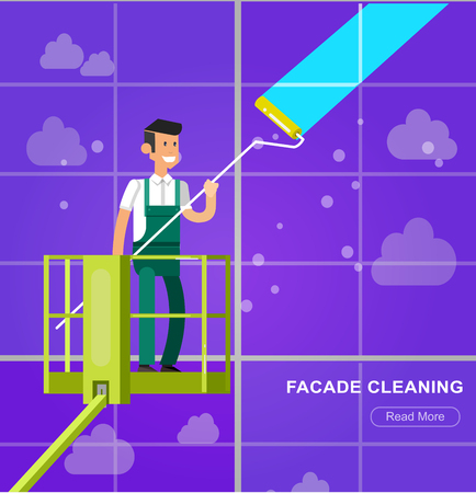 window washer: Illustration of a window washer cleaner cleaning a window. Vector detailed character men worker on lift