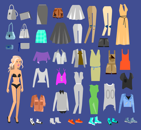 clothing shop: Woman Clothes. Paper doll with clothes, skirt and blouse, boots, glasses and jeans, sweater, shoes, bags. Clothes vector flat illustration set. Clothes and accessories Illustration