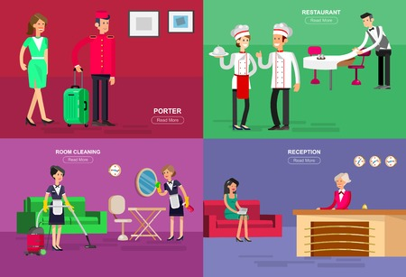 hotel staff: Hotel staff and service, Hotel reception, Hotel Room cleaning and Hotel restaurant, detailed character porter, chambermaid, chief cooker, cool flat tourism Hotel elements