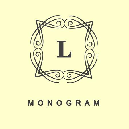 elegant monogram design vector linear frame and monogram monogram