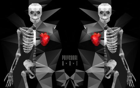 ice chest: Polygonal skeleton. low poly illustration. Polygonal creative poster Illustration