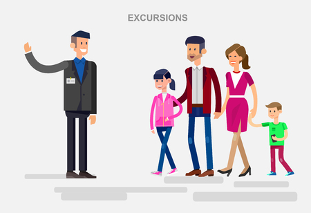 family holiday: Vector detailed character people. Family summer holiday travel on car, tour guide