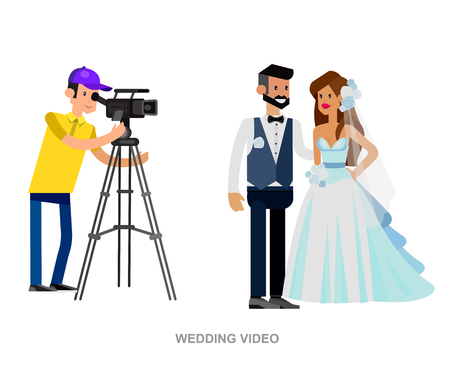 cool detailed character Photographer with camera and cute wedding couple. Vector wedding detailed character beautiful smiling bride and groom Vektorové ilustrace