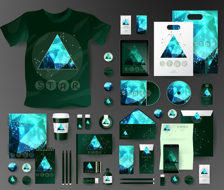 pen tablet: Abstract  business set in cosmic polygonal style. Corporate identity templates, notebook, card, flag, T-shirt, disk, package,  label, envelope, pen, Tablet PC, Mobile Phone, matches, ink, pencil, paper cup, forms, folders for documents, invitation card