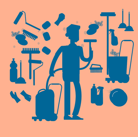 solvent: Poster design for cleaning service and supplies. Vector silhouette character professional housekeeper. Cleaning kit icons