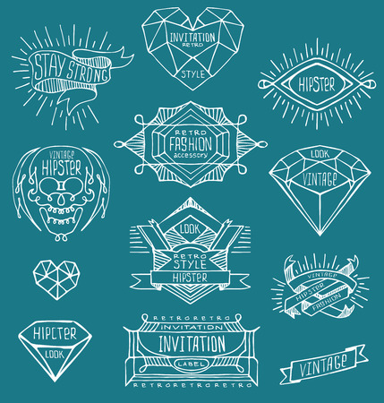 insignias: Abstract  retro vintage design. Line labels, insignias, badges, frames, borders