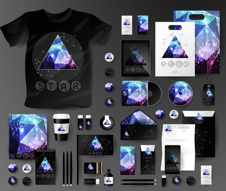 Abstract  business set in cosmic polygonal style. Corporate identity templates, notebook, card, flag, T-shirt, disk, package,  label, envelope, pen, Tablet PC, Mobile Phone, matches, ink, pencil, paper cup, forms, folders for documents, invitation card