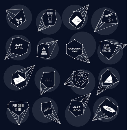 teorema: Abstract polygonal label and bubble design. Cosmic style. low poly illustration