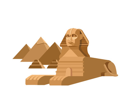 sphinx: High quality, detailed most famous World landmark. Sphinx and pyramids background. Travel vector. Travel illustration. Travel landmarks. Happy travel