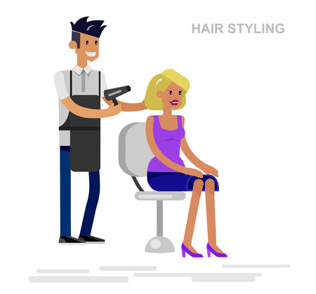 manicurist: Detailed character Barber makes styling for glamorous girl, beautiful smiling blond woman. Web banner template  for beauty saloon isolated on white background.