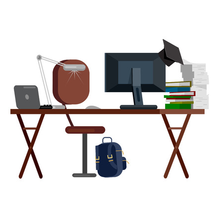 writing chair: Vector detailed objects for education. Flat education set, style vector education, illustration education objects