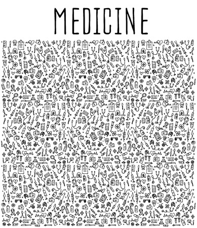 bocetos de personas: elementos dibujados a mano Medicina, Medicina sin fisuras, Medicina elementos doodles, Medicina de fondo sin fisuras. Medicina esquemática ilustración Vectores