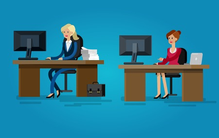 Vector detailed character corporate Office worker, business team people sitting behind desk. Office workers. Men and women office worker. Office worker cool flat  illustration Ilustrace