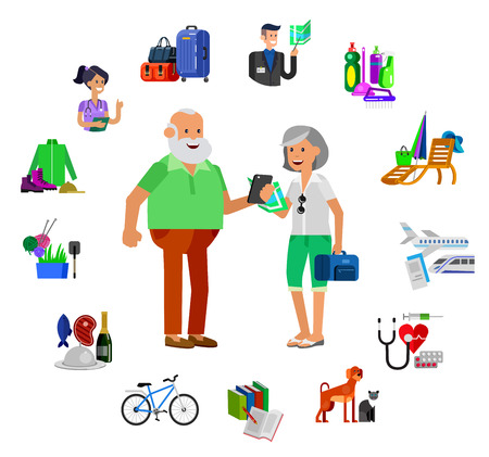 hobbies: vector detailed character senior, senior age. Old age couple and icons. Pension hobbies and interests leisure of pensioner Illustration