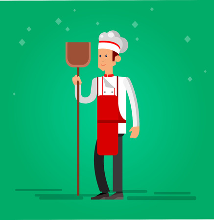 professional chef: Vector detailed characters men professional chef, Cook baker cooking bread, flat design vector illustration