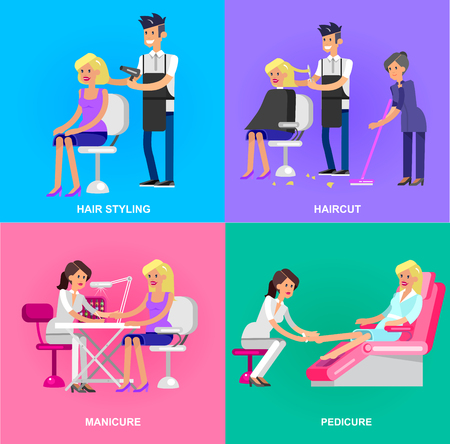 manicurist: Detailed Manicurist character makes a professional manicure and pedicure beautiful blond woman. Barber makes a hair cut and styling for girl. Web banner template  for beauty saloon Illustration