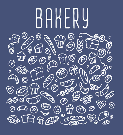 sketchy illustration: Hand drawn bakery seamless, bakery doodles elements,  bakery seamless background. Bakery Vector sketchy illustration
