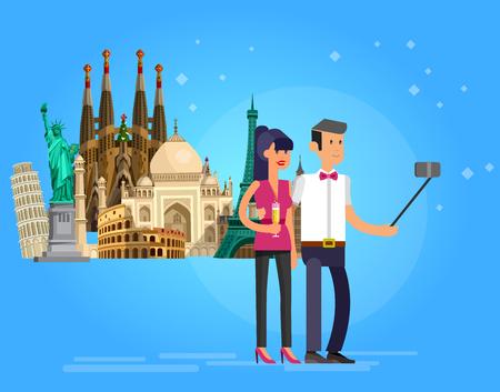 High quality, detailed most famous World landmarks. Character loving couple make selfie. Travel vector. Travel illustration. Travel landmarks. Happy travel