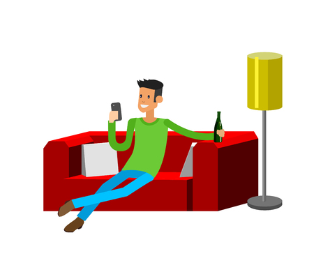 Man resting at home. Laying on sofa. Man Laying on sofa and drinking beer. Man resting at home and looking in smartphone. Man resting at home on sofa