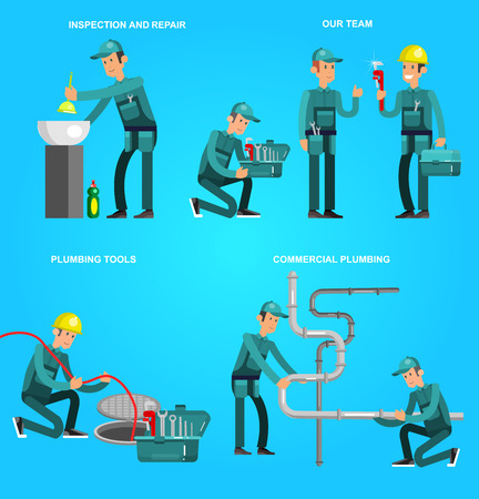 fixing: detailed character proffesional plumber men set , plumber repair professional, plumber fixing water pipes. Vector plumber set. Illustration plumber character.