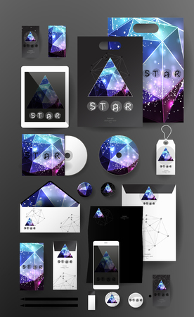 pen tablet: Abstract  business set in cosmic polygonal style. Corporate identity templates, card, disk, package, label, envelope, pen, Tablet PC, Mobile Phone, pencil, folders for documents, invitation card
