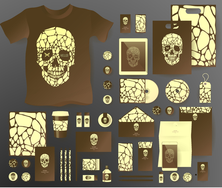 pen tablet: Abstract  business set with skull and bubble . Corporate identity templates, notebook, card, flag, T-shirt, disk, package,  label, envelope, pen, Tablet PC, Mobile Phone, matches, ink, pencil, paper cup, forms, folders for documents, invitation card Illustration