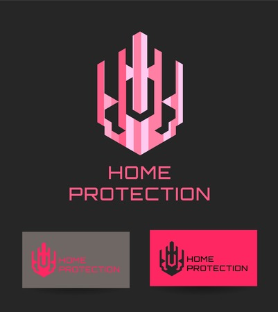 home protection: Business Icon - Home protection. Vector logo design template. Logo concept for Home security, building home architecture Illustration